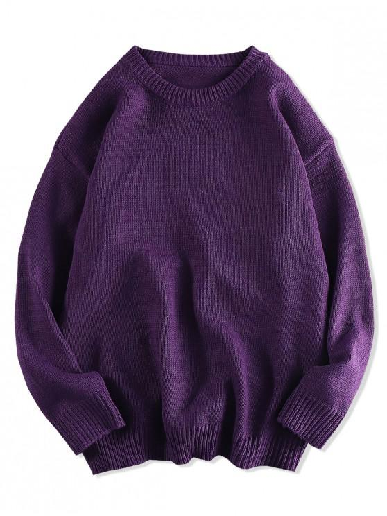 womens Solid Color Pullover Round Neck Sweater - PURPLE M