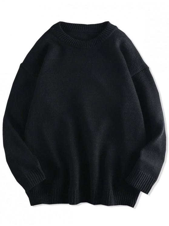 Solid de culoare Pulover rotund Neck Sveteri - Negru M