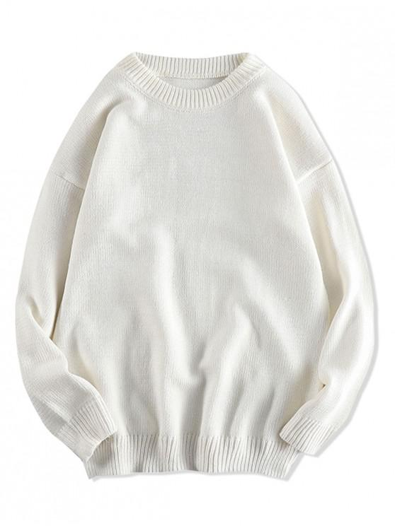 fancy Solid Color Pullover Round Neck Sweater - WHITE L