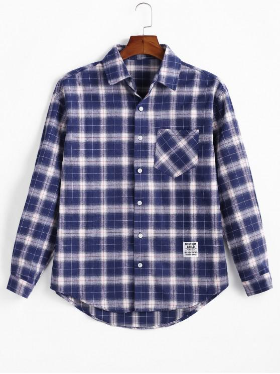 trendy Plaid Print Pocket Long-sleeved Button Shirt - DENIM DARK BLUE M