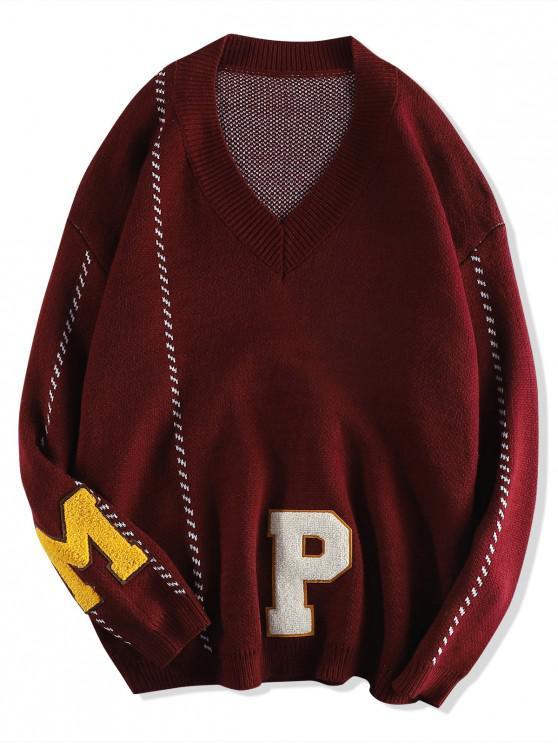 Scrisoare grafică model casual Pulover Pulover - Vin rosu 2XL