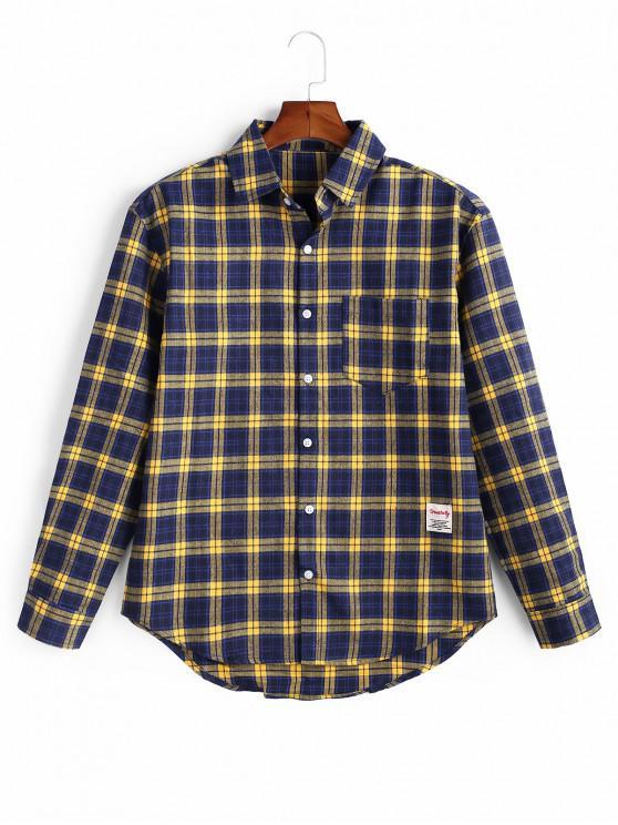 Plaid Button model complet cămașă - Albastru de albine 2XL
