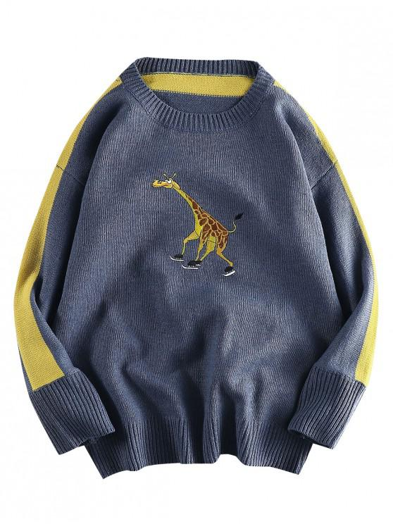 chic Giraffe Embroidered Casual Pullover Sweater - SLATE BLUE XL