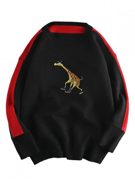 Girafa Brodate casual Pulover Pulover - Negru 2XL