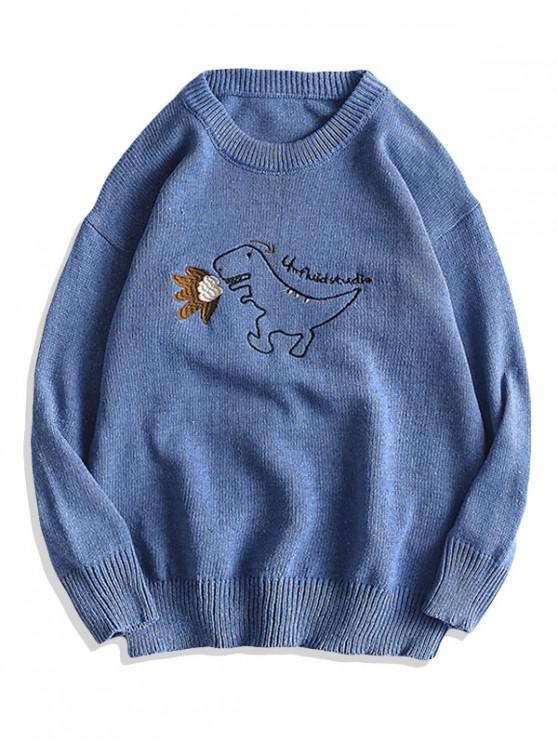 outfits Cartoon Dinosaur Embroidery Pullover Sweater - SKY BLUE M