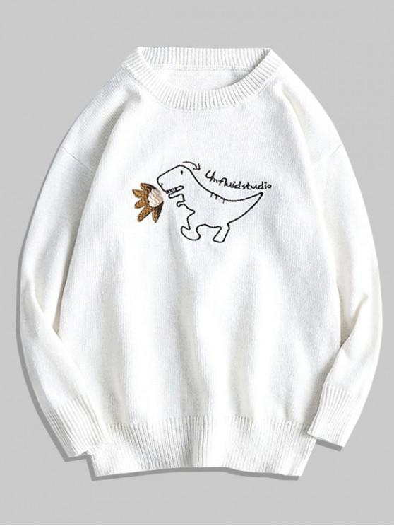 womens Cartoon Dinosaur Embroidery Pullover Sweater - WHITE M