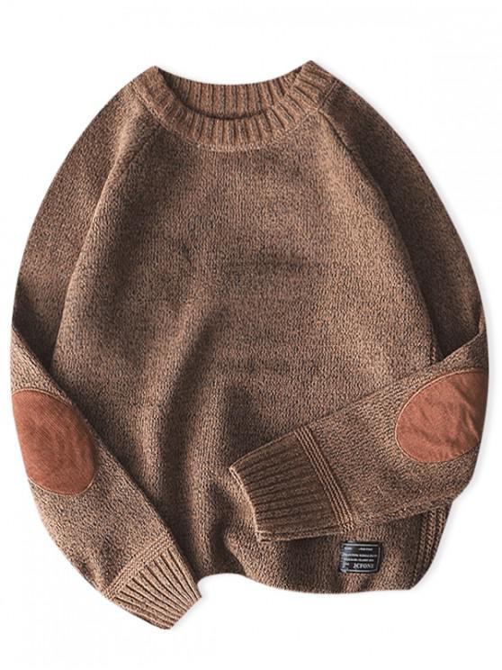 純色圓領套頭衫毛衣 - 黃褐色 M