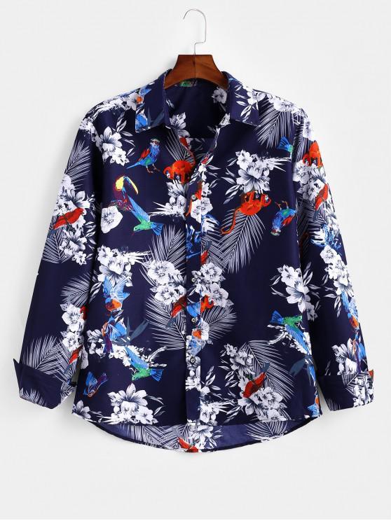 shops Floral Monkey Pattern Long Sleeves Shirt - MULTI 3XL