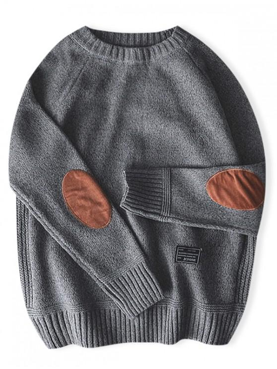 fancy Solid Color Round Neck Pullover Sweater - GRAY M