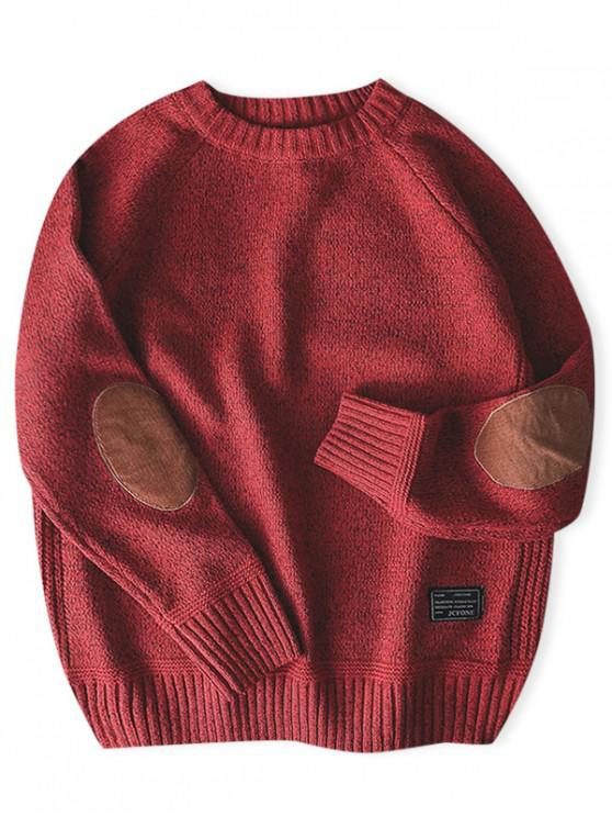 sale Solid Color Round Neck Pullover Sweater - RED XS