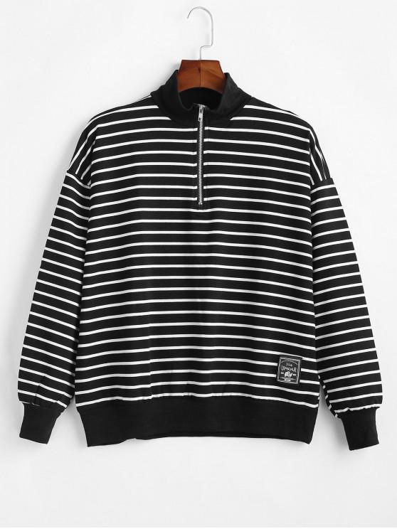條紋圖案季度拉鍊休閒外套 - 黑色 L