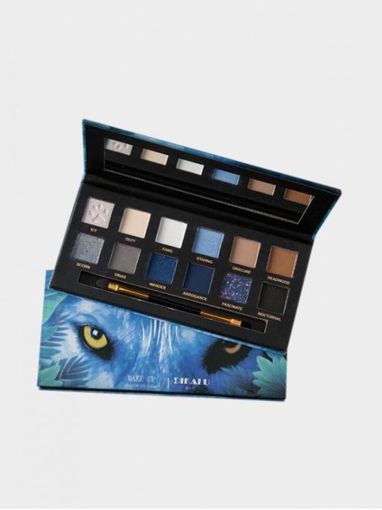 shop 12 Color Animal Print Glitter Waterproof Eyeshadow Palette - MULTI-C