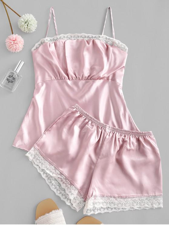 unique Lace Insert Satin Cami Pajama Shorts Set - PINK 2XL