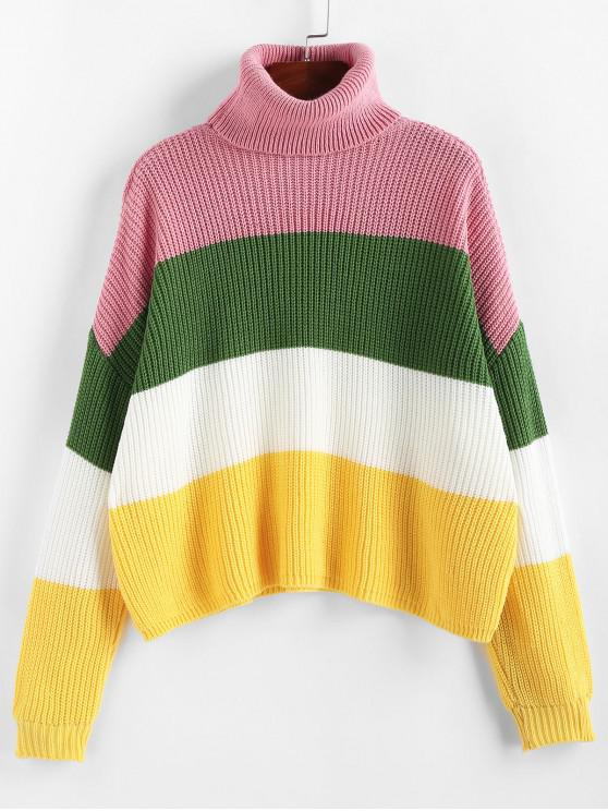 online ZAFUL Colorblock Turtleneck Sweater - MULTI-A S