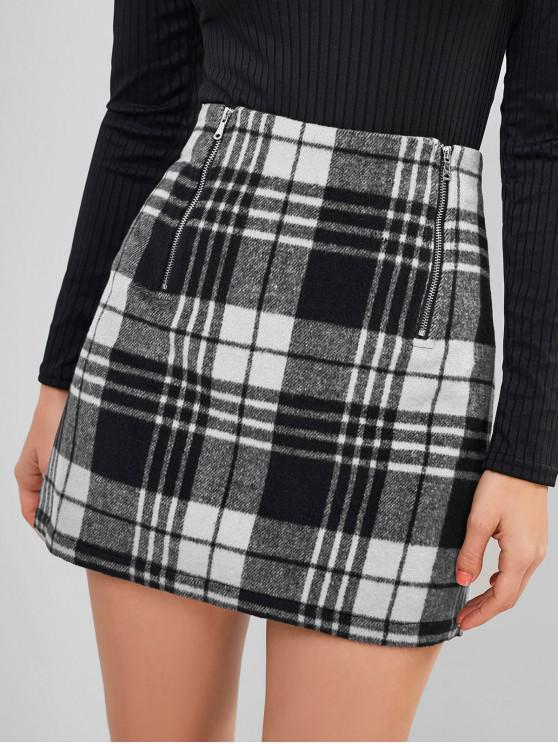 outfits ZAFUL Plaid Zipper Mini Skirt - MULTI-B S