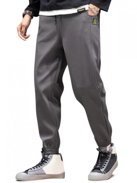 online Graphic Icon Pattern Casual Jogger Pants - GRAY S