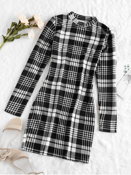 ZAFUL Mini Robe Moulante à Carreaux de Grille - Noir S