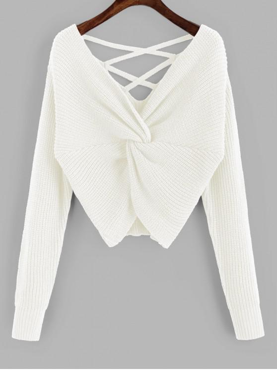 women's ZAFUL Twisted Criss Cross Drop Shoulder Sweater - MILK WHITE L