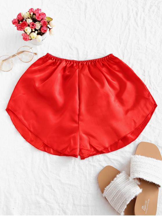 shops Picot Waist Satin Shorts - RED ONE SIZE