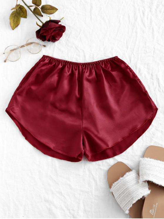 womens Picot Waist Satin Shorts - RED WINE ONE SIZE