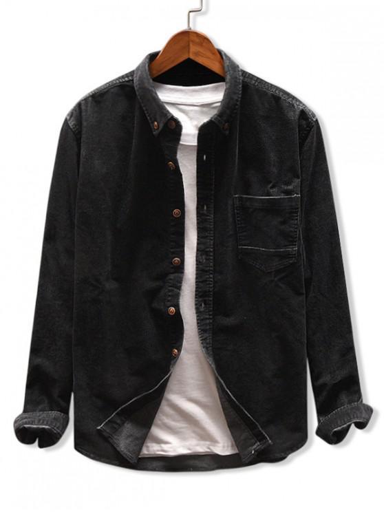 shops Solid Color Pocket Corduroy Shirt - BLACK 3XL