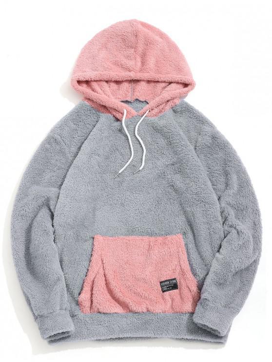 Flauschige Hoodie mit Känguru Tasche - Graue Wolke 2XL