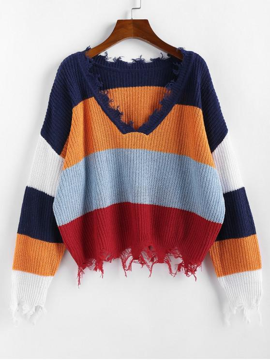 hot ZAFUL Colorblock Ripped V Neck Sweater - MULTI-C S