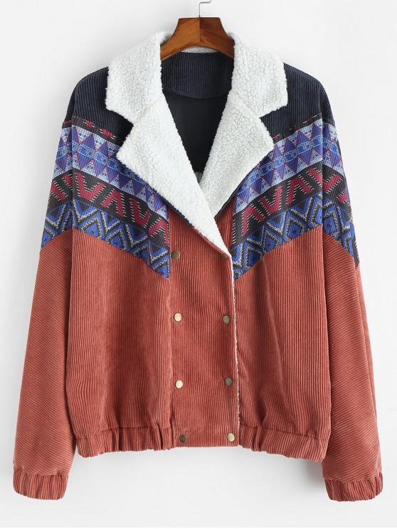 Племенной принт На пуговицах Пушистая Куртка - Живой коралл XL