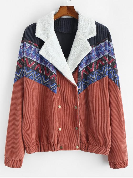unique Tribal Printed Button Up Fluffy Jacket - LIVING CORAL 2XL