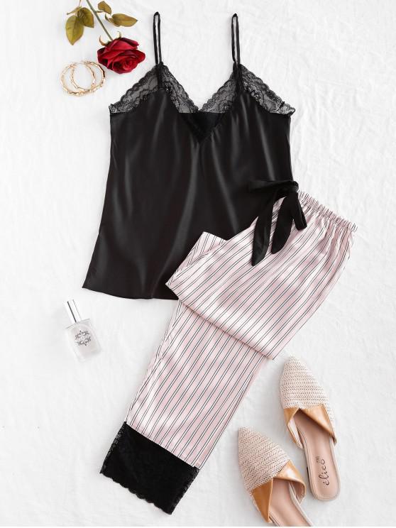 trendy Lace Insert Striped Cami Pajama Pants Set - BLACK M