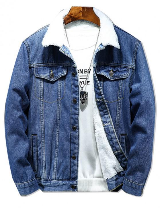 online Solid Color Button Denim Fluffy Jacket - DENIM DARK BLUE XS