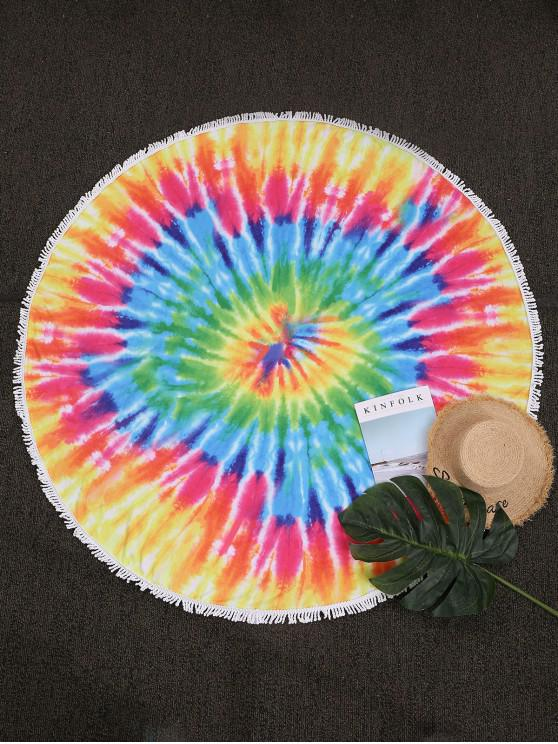 fancy ZAFUL Splatter Tie Dye Print Fringed French Terry Beach Blanket - MULTI-B ONE SIZE
