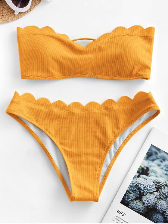 outfit ZAFUL Textured Scalloped Sweetheart Bandeau Bikini Swimsuit - ORANGE GOLD M