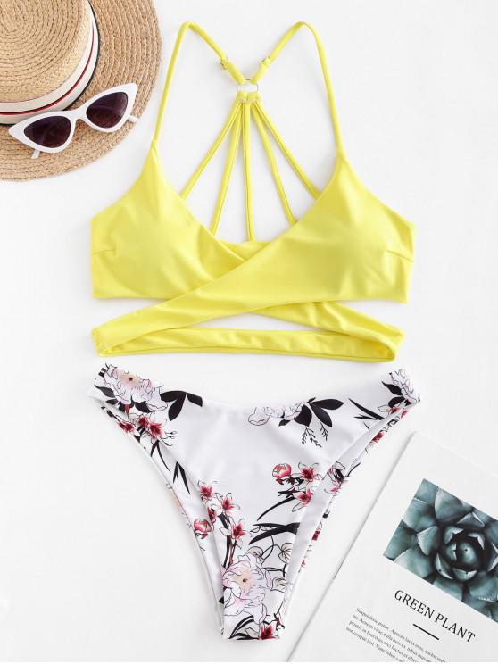 buy ZAFUL Floral Strappy Wrap Bikini Swimsuit - CORN YELLOW L
