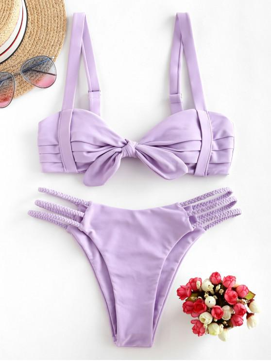 affordable ZAFUL Pleated Braided Strappy Bikini Swimsuit - LAVENDER BLUE M