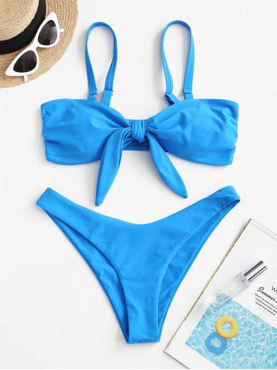 fashion ZAFUL Tie Front Side Boning Bikini Swimsuit - OCEAN BLUE L