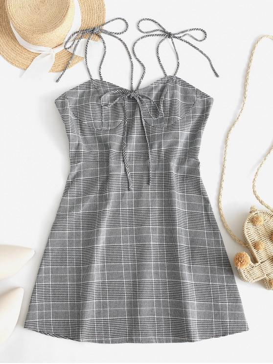 ladies ZAFUL Glen Plaid Knotted Tie Shoulder Dress - MULTI-A XL