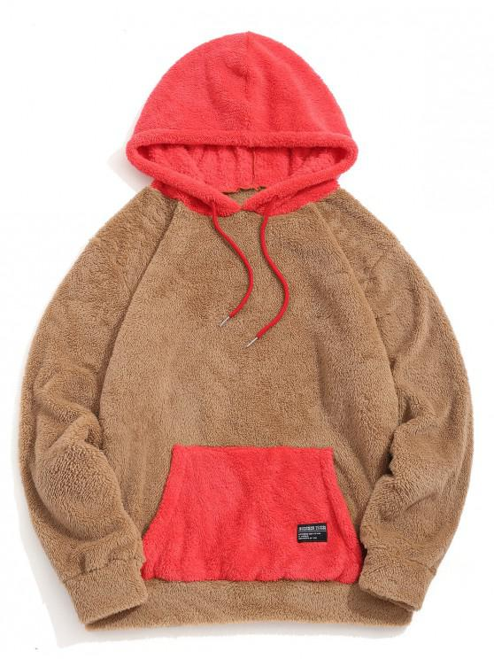 hot Colorblock Kangaroo Pocket Fluffy Hoodie - CARAMEL M