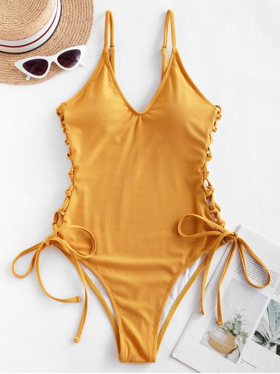 ZAFUL costine Side Lace Up un pezzo del costume da bagno - Giallo d'oro XL