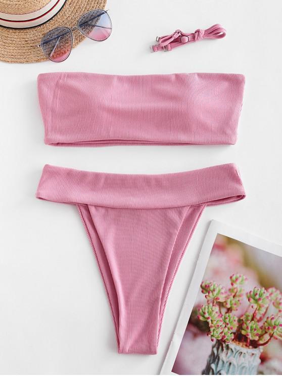 ZAFUL costine Alta Leg fascia Bikini Swimsuit - Rosa Chiaro L