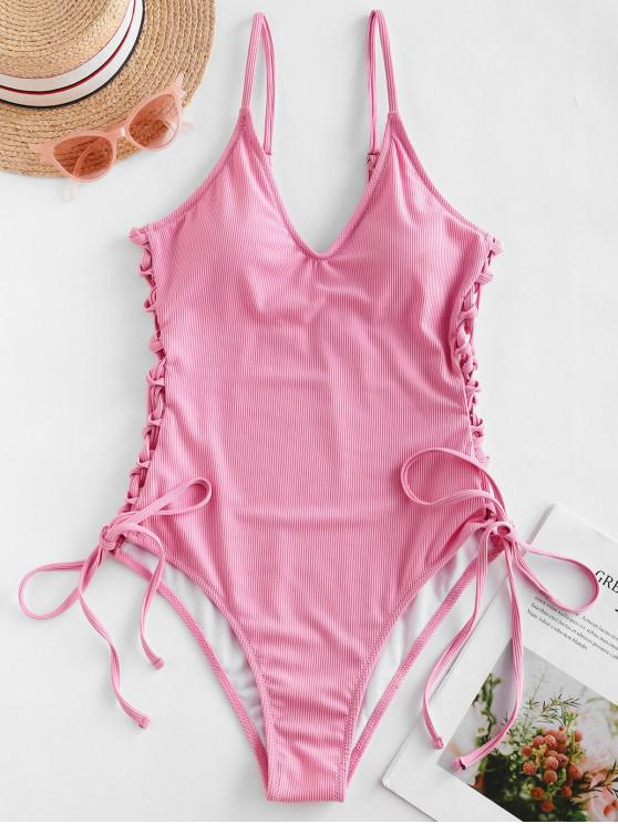 fancy ZAFUL Ribbed Side Lace Up One-piece Swimsuit - PINK XL