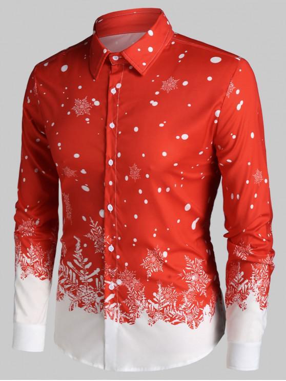 latest Christmas Snowflake Print Long Sleeve Button Up Shirt - RED 3XL