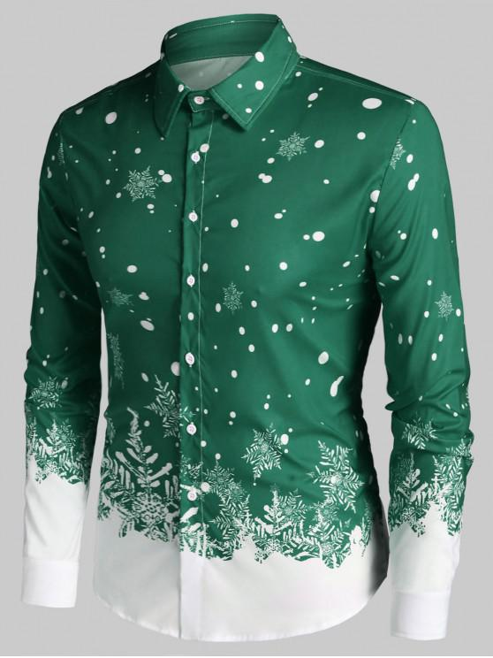 best Christmas Snowflake Print Long Sleeve Button Up Shirt - SEA TURTLE GREEN 2XL