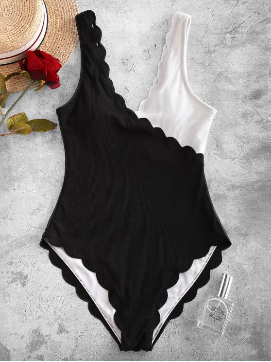 trendy ZAFUL Ribbed Two Tone Scalloped One-piece Swimsuit - BLACK S