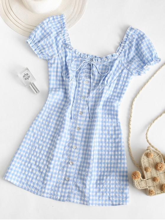 unique ZAFUL Buttoned Smocked Gingham Sheath Dress - LIGHT BLUE S