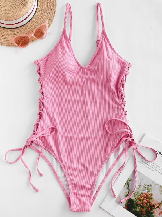 fashion ZAFUL Ribbed Side Lace Up One-piece Swimsuit - PINK M