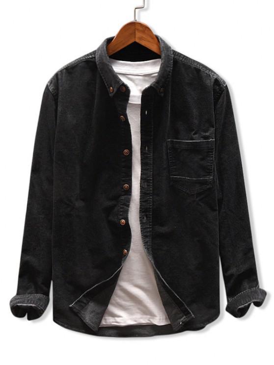outfits Solid Color Pocket Corduroy Shirt - BLACK XL