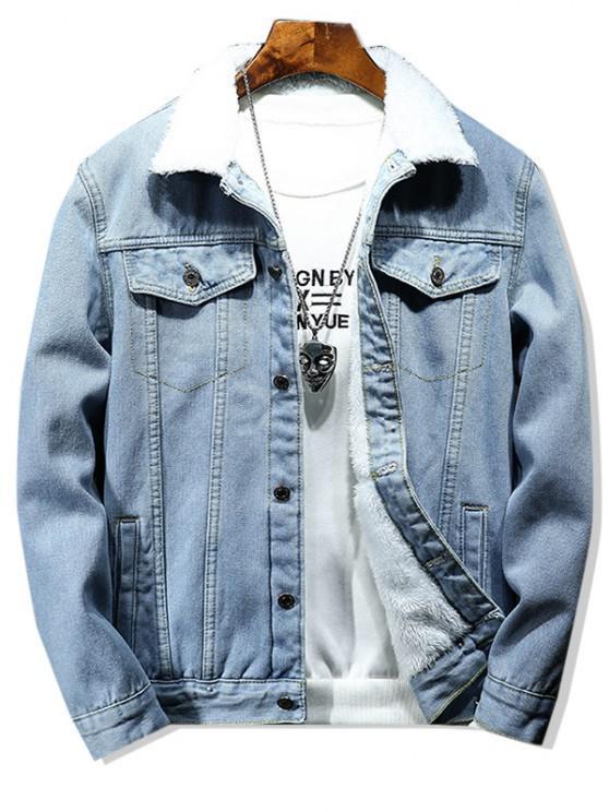 Veste Fourrée en Couleur Unie avec Bouton en Denim - Bleu clair S