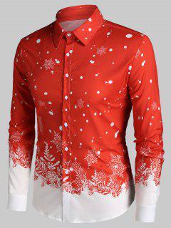 Christmas Snowflake Print Long Sleeve Button Up Shirt - Red M