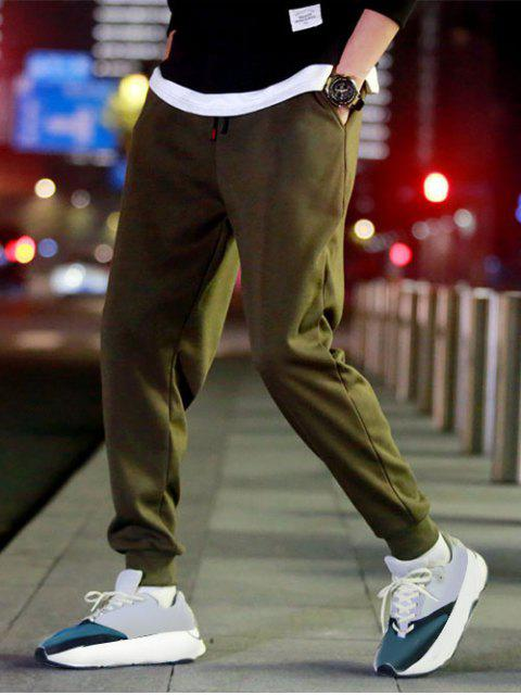 ladies Solid Color Fuzzy Jogger Pants - ARMY GREEN L Mobile